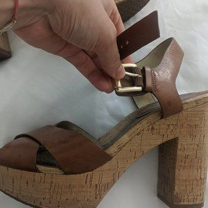 Michael Kors Cork and Tan Platform Sandals Sz 7.5